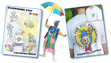 clowning coloring books, tshirts, etc